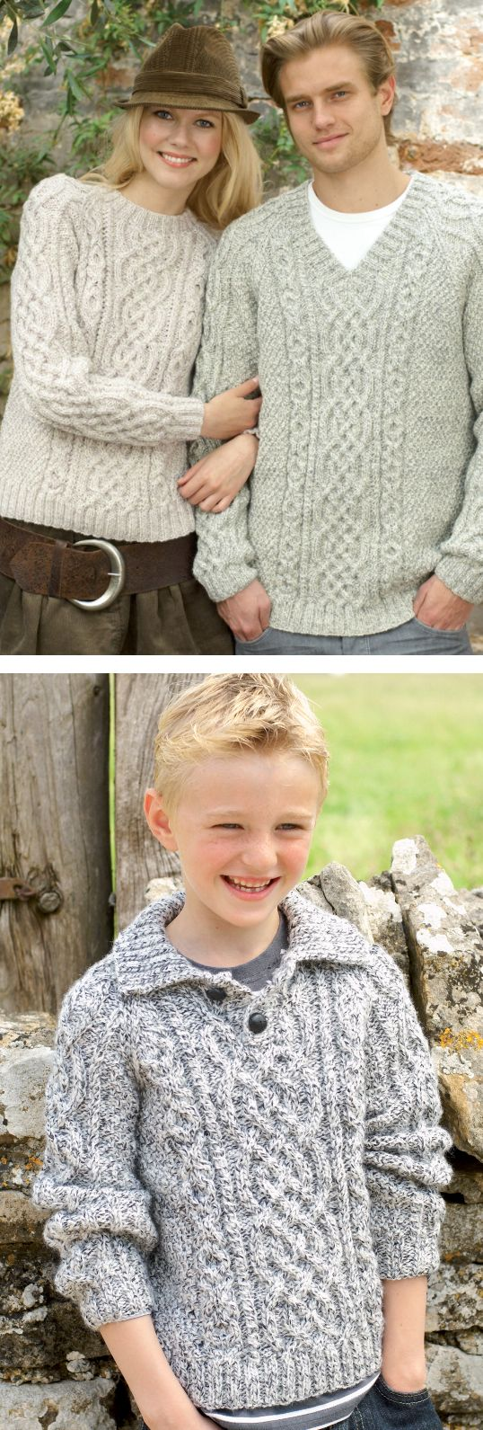Free Knitting Pattern for Raglan Aran Pullover - Long-sleeved sweater with Celtic style cables framed with  cable XOXOs hugs and kisses. Neckline options include crew neck, v neck and collar with buttons. Adult and child sizes from 61/66cm (24/26″) to 112/117cm (44/46″) chest. Designed by Sirdar