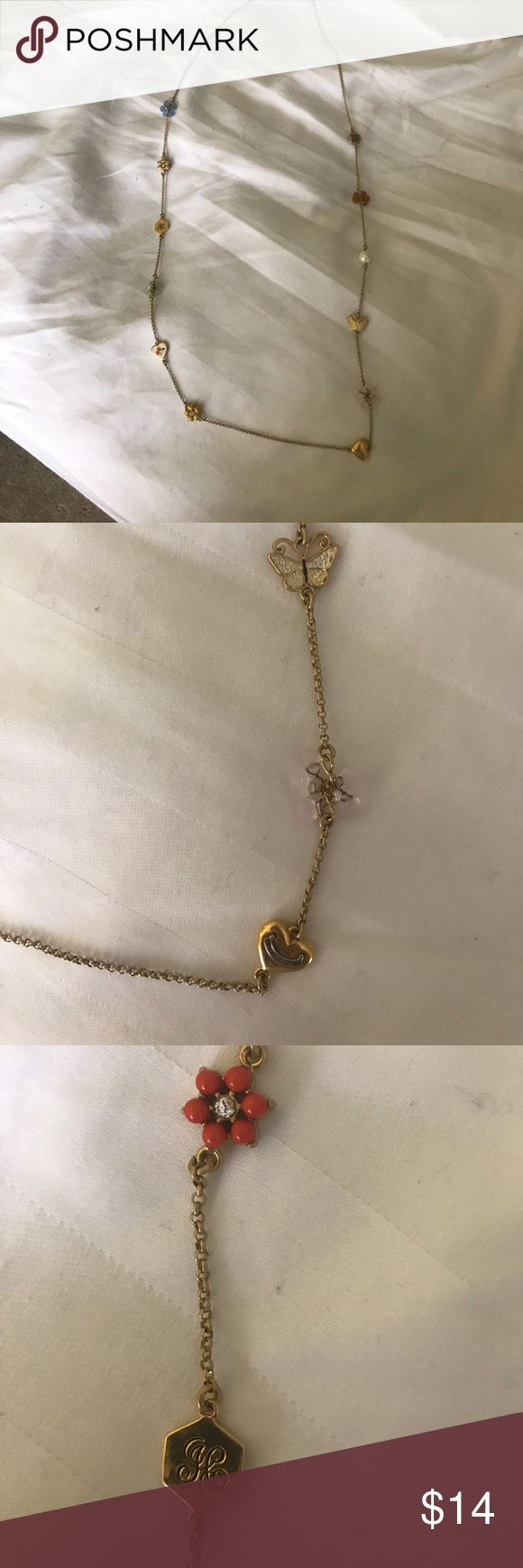 "Juicy couture long gold necklace 🦋 41"" long. Can be doubled up. Gold chain with flower, butterfly, heart and rhinestone detail! Excellent condition. Juicy Couture Jewelry Necklaces"