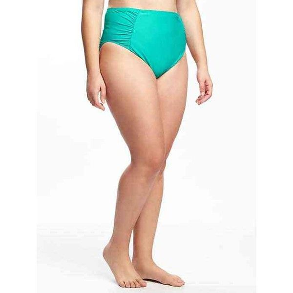 Old Navy High Waisted Plus Size Ruched Bikini Bottoms ($35) ❤ liked on Polyvore featuring plus size women's fashion, plus size clothing, plus size swimwear, plus size bikinis, plus size bikini bottoms, plus size, tropical vacation nyln, scrunch bikini bottoms, plus size two piece and plus size bikini