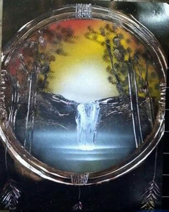 Sunset waterfall dream catcher spray paint art gift idea for Dream catcher spray painting