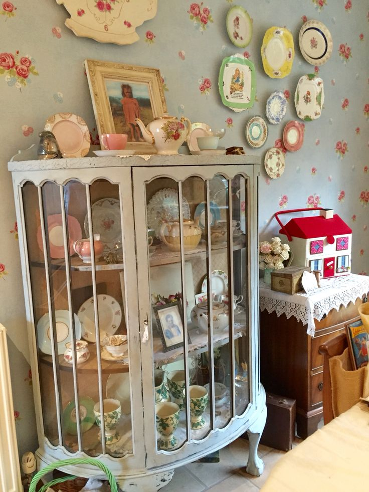 Vintage bow fronted cabinet, shabby chic Cath Kidston sewing box.