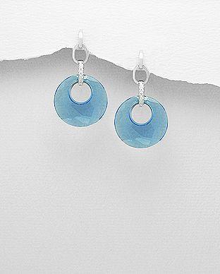 """Super feminin øreringe med Swarovski®  krystaller i lækredesign og farver. Your """"something Blue"""" hos Norlume.dk"""