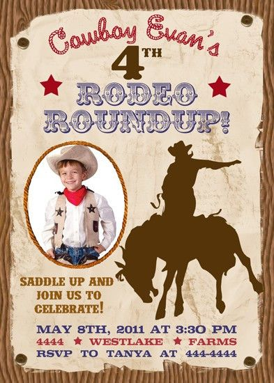 Western Rodeo Cowboy Birthday Invitation