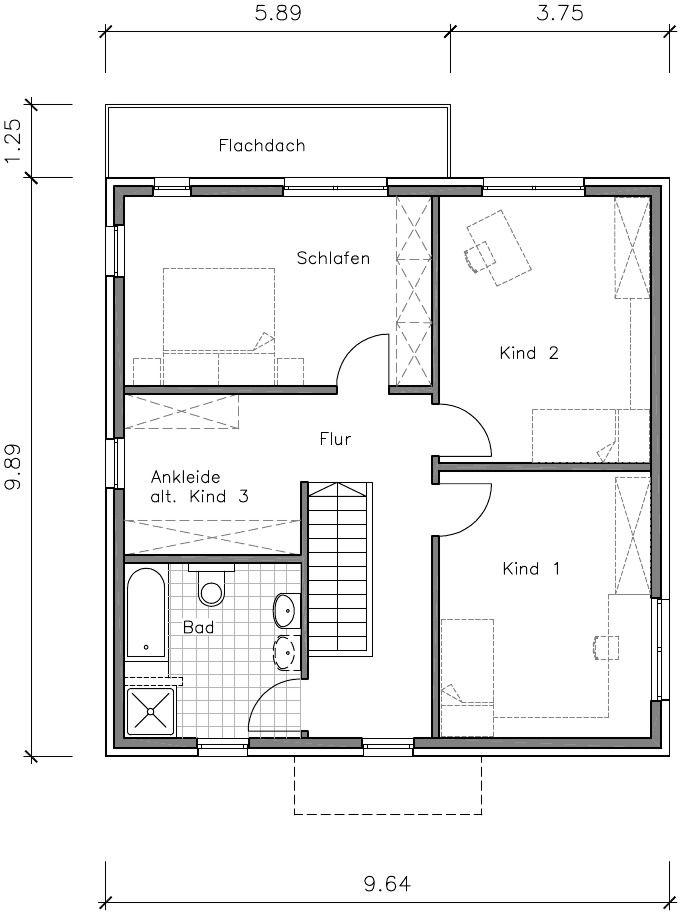Flachdachhaus Grundriss Obergeschoss Grundrisse Pinterest