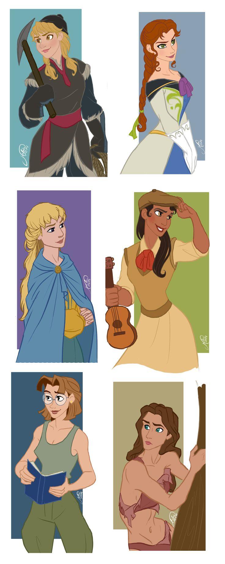 Disney Guys - Genderbend by juliajm15.deviantart.com on @deviantART - Genderbent versions of Kristoff, Hans, Phoebus (I LOVE how she turned out here!), Naveen, Milo Thatch, and Tarzan