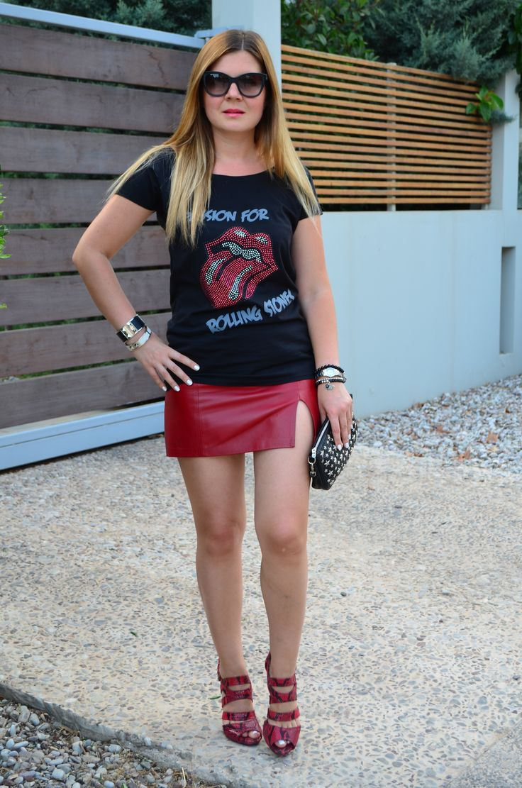 Passion for Rolling Stones t-shirt worn with leather skirt, Jimmy Choo bag