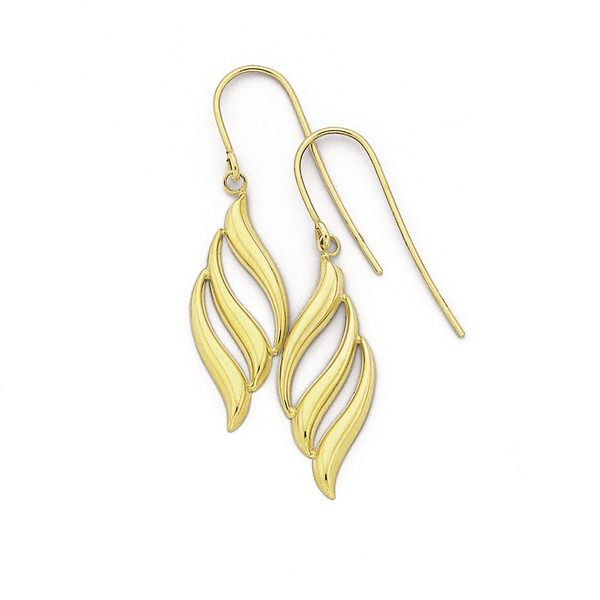 9ct Gold Flame Drop Earrings