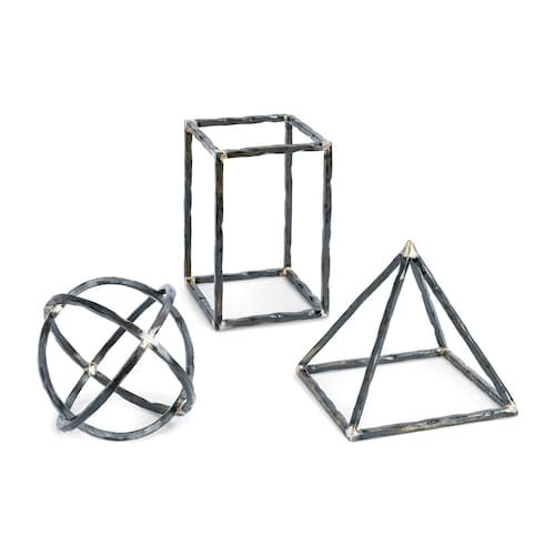 (9B) Living Room Media Console or Coffee Table: Small Zinc Polyhedron - Accessories - Regina Andrew Design 20-1076 Geo Shapes (Set of 3)