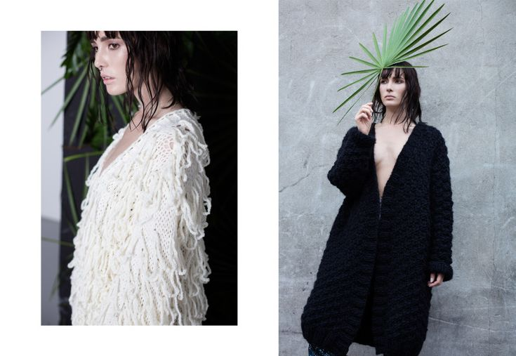 Anna Dudzińska, CONCRETE GREEN, aw2015, sweater FRINGE, sweater HARASA. To download high or low resolution product images view Mondrianista.com (editorial use only).