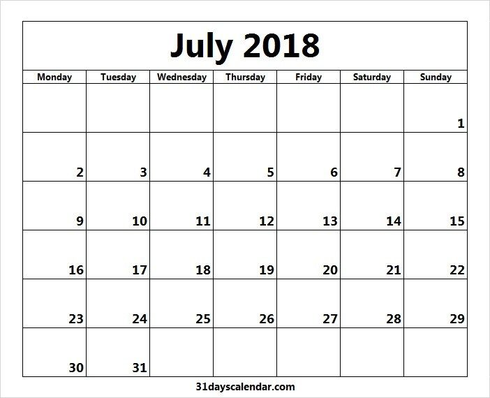 Free July 2018 Monday Start Image Picture For Desktop Calendar