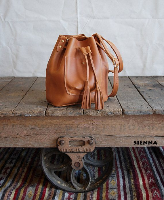 Bandoulière de sac sac à main en cuir sac seau par BuboHandmade