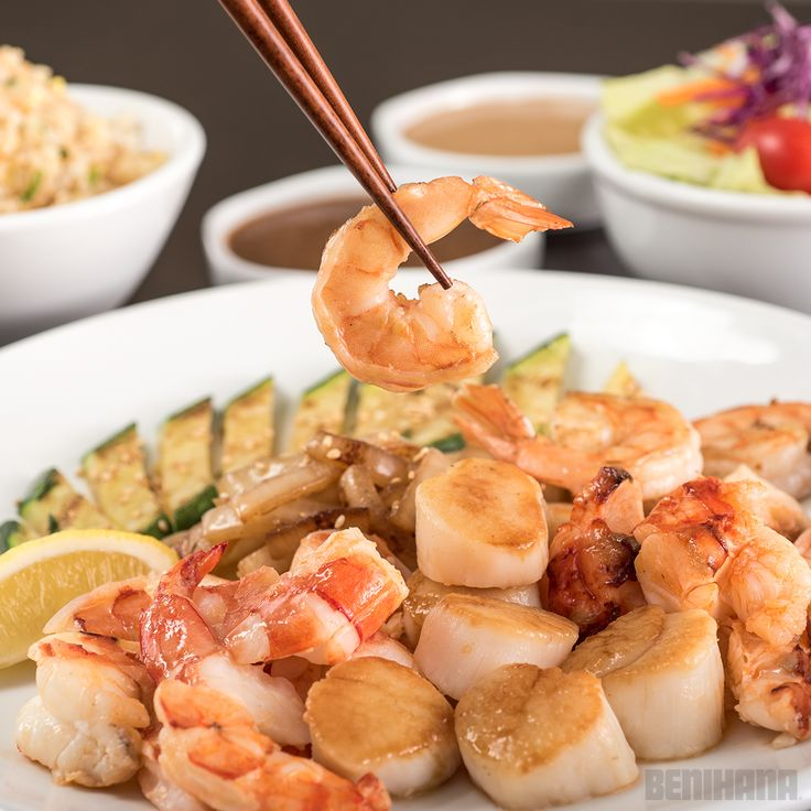 Benihana Ocean Treasure: Grilled cold water lobster tail with grilled sea scallops and colossal shrimp.