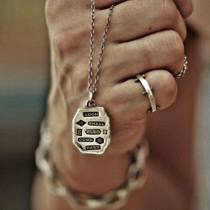 king solomon, solomon pendant, hand stamped pendant, hallmark pendant, quote pendant, vintage pendant, vintage necklace, quote necklace by StudioS71 on Etsy