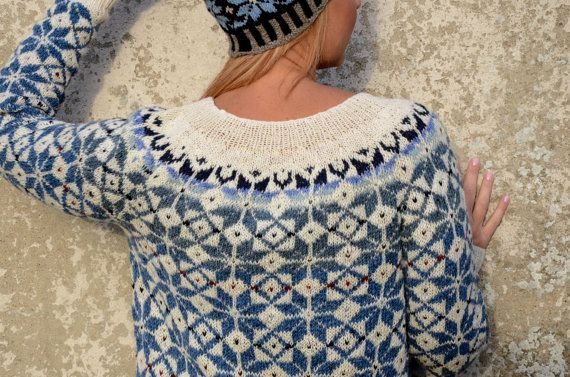 Fair Isle Sweater Blue White Sweater Comfy sweater Nordic by adaLV