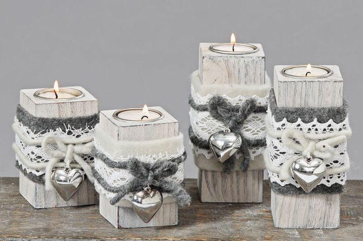 NEU!!! Teelichthalter Holz grau weiß Filz Herz versch. Modelle H10cm oder H14cm