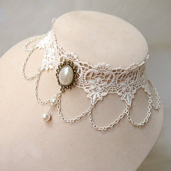 Exquisite Vintage Faux Pearl Embellished Layered Lace Necklace For Women