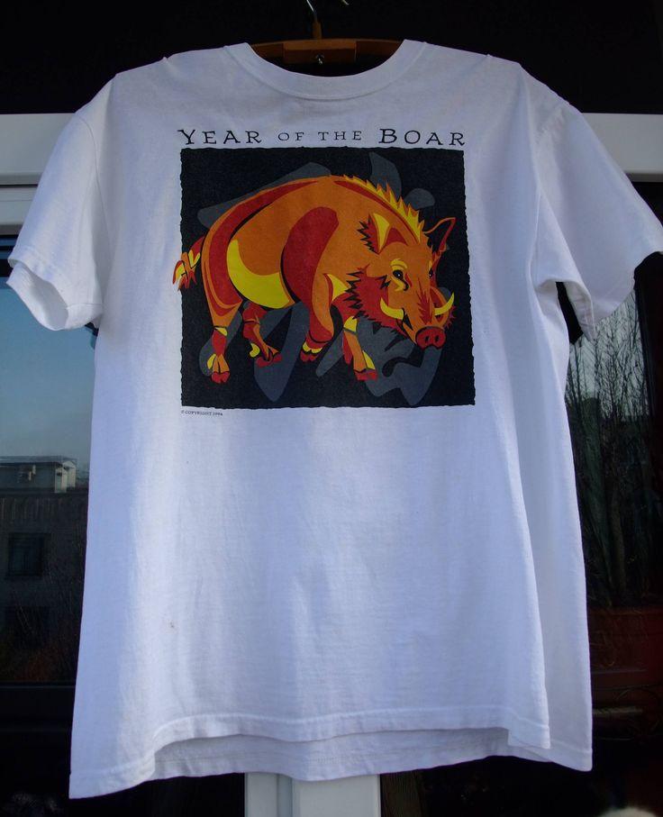 copyright 1994 Chinese year of the boar 1971 1983 1995 horoscope nativity  shirt vintage Large white by shirtsforeveryone17 on Etsy