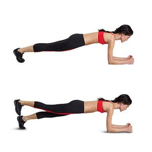 Get into a plank position, with your forearms on the ground, elbows directly under your shoulders, and legs extended straight behind you, feet hip-width apart. Your body should form a straight line from your shoulders to your ankles, and your core should be braced. Keeping your hips parallel to the floor, squeeze your glutes to raise your right foot a few inches into the air. Hold for two seconds, then lower your foot. That's one rep. Repeat with your left foot. Continue alternating for 12…