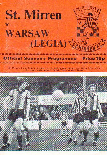 ST MIRREN V LEGIA WARSAW 4/2/1976 FRIENDLY