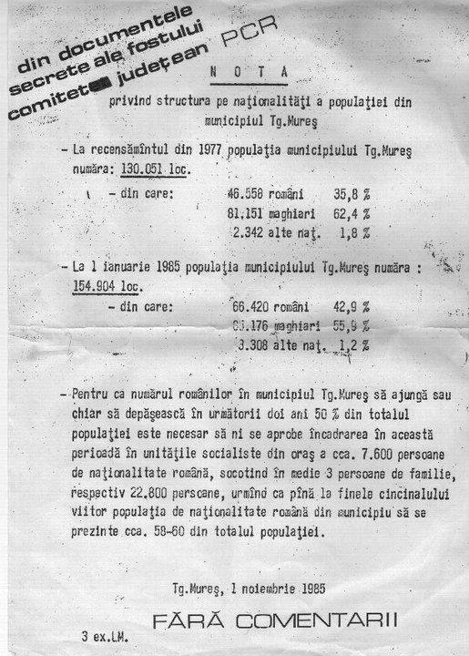 Romania's real face. Birth of a country: Ro-Mania.  Encrypted documents from the archives of the RKP, which foresees a change in the ethnic composition of the city (Marosvásárhely, Târgu Mureș, Neumarkt) by way of introductions. This is silent genocide.   1.5 million Hungarians live in Romania, without basic human rights. Thank you Europe, thank you Trianon-1920!