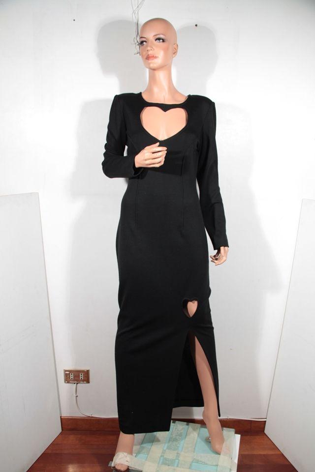 CHIARA BONI Italian VINTAGE Black Wool Blend MAXI DRESS w/ CUTOUT HEART