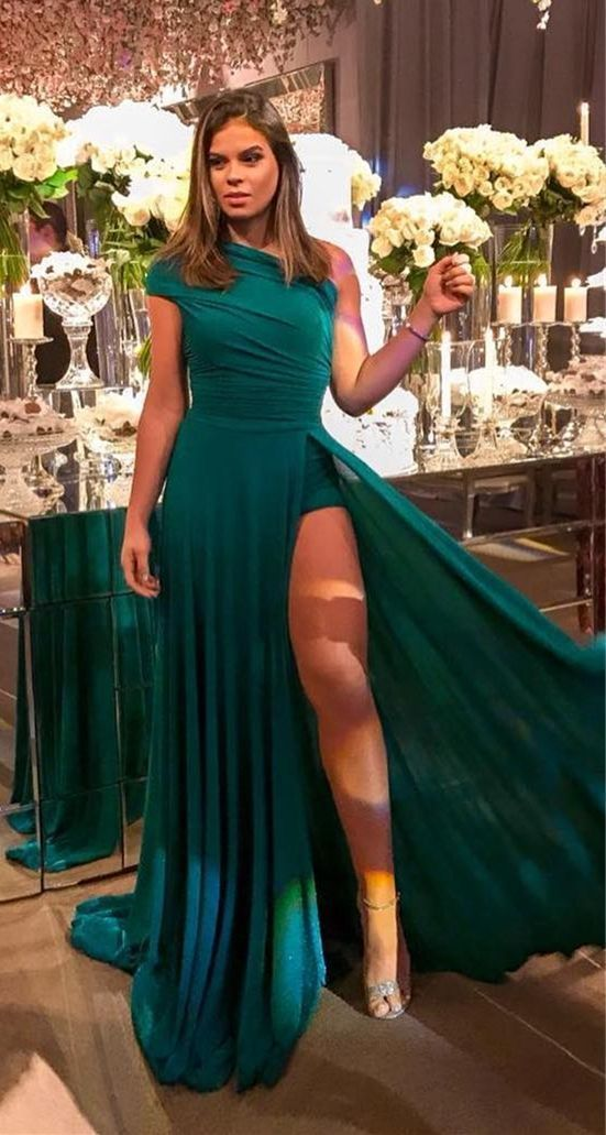 1aa9d0ebc0f4 New Arrival One Shoulder Evening Dress For Women ,Sexy Dark Green Chiffon  Long Prom Dress Custom Made Party Gowns With High Slit 2019