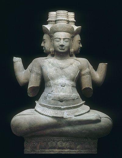 Brahma, environs de Vat Baset, Angkor, Cambodge, Don Fustier au musée indochinois du Trocadéro (1888), deuxième quart du Xe siècle, Musée Guimet, Paris
