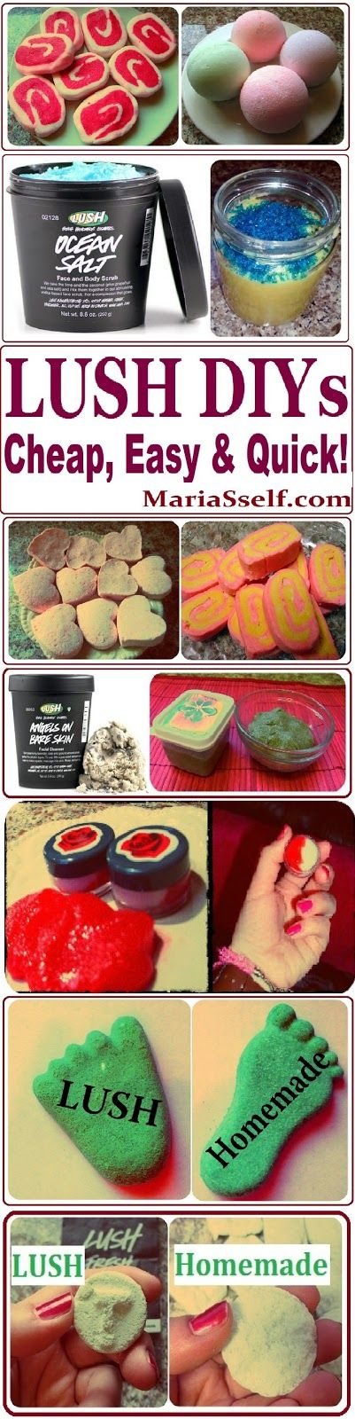 DIY LUSH Product Recipes, How to Make them CHEAP, EASY & QUICK on www.MariaSself.com Homemade Gift Ideas for Birthday, Mother's Day Etc.. WOW!!! think of the possibilities!!! I've got do this!!!