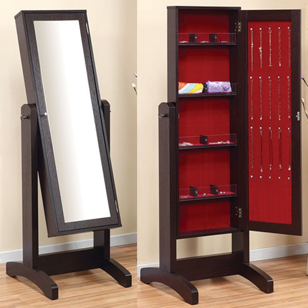 Hidden Cabinet Behind A  Mirror: Cheval Cappuccino Finish Floor Mirror with Jewelry Holder