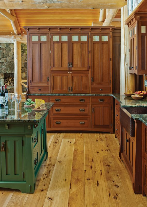 Nutmeg stained Sapele Hutch Cabinet and glazed Lexington Green kitchen island - Arts & Crafts Designer Series - CrownPoint Cabinetry