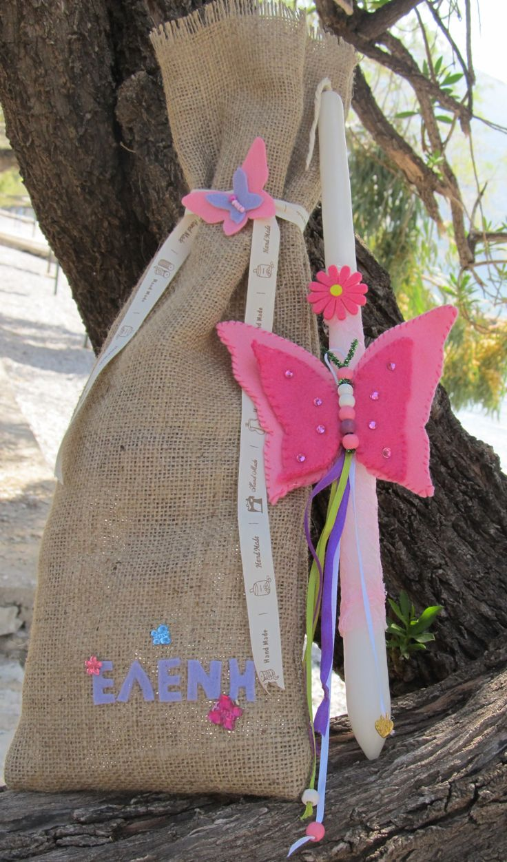 Easter Candle, felt butterfly, beads, strass, lace and ribbon.