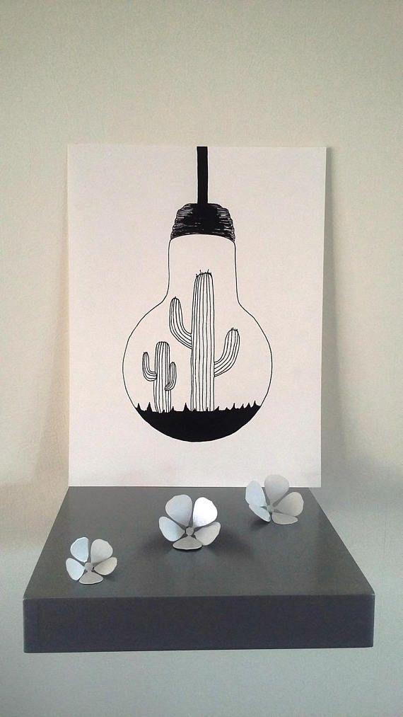 Poster Illustration Black And White Bulb Dessin Tumblr En