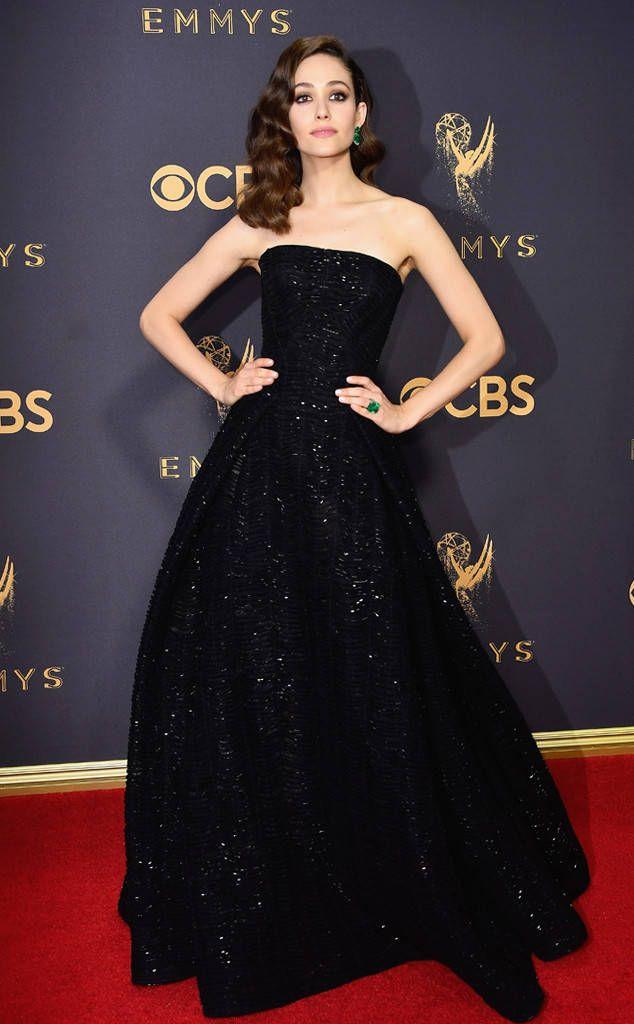 Emmy Rossum from 2017 Emmys Red Carpet Arrivals  In Zac Posen
