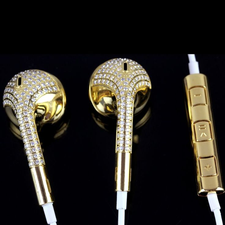 Fashion 24k gold Bling Crystal Diamond Headphones Earphone In-ear Headset for Apple iPhone Android SmartphonesWholesale For iPhone Android 24k gold Diamond In-ear Headset Headphone by truesupplier.com