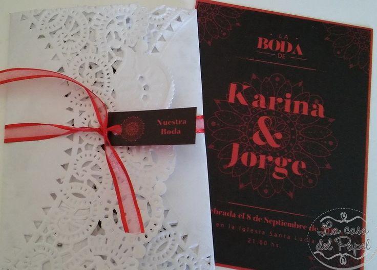 #casamiento #vintage #rojoynegro #boda #15años #invitaciones #participaciones