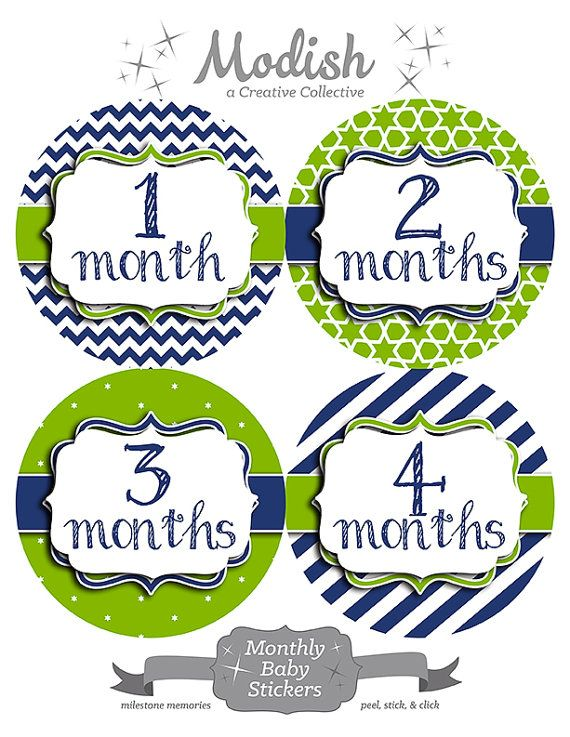 FREE GIFT Monthly Baby Stickers Boy Navy Blue Lime by ModishCC