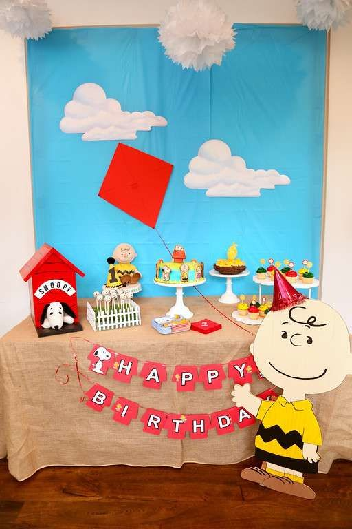 Fun dessert table at a Peanuts birthday party! See more party ideas at CatchMyParty.com!