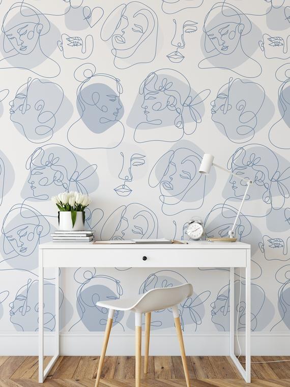Modern Line Art Wallpaper Light Pastel Blue Peel And Stick Etsy Blue Aesthetic Pastel Minimalist Wallpaper Art Wallpaper