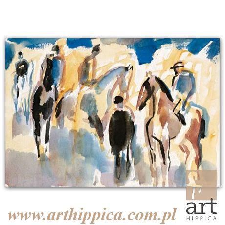 Horse - Painting - Holler Josef | PRZED STARTEM |  A painting by Josef Holler. Signature: Josef Holler; Technique: watercolor; Dimensions: 30 x 37 cm; Exhibitions: Czech Parliament, Millennium gallery – Prague.