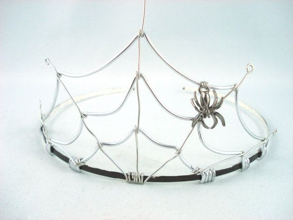 Special Order for eshuba - Spider's Web Silver and Black Filigree Gothic Tiara