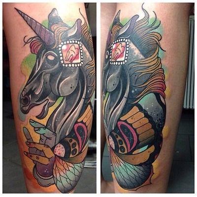 unicorn tattoo done by Michael Gibson at rude studios Leeds uk