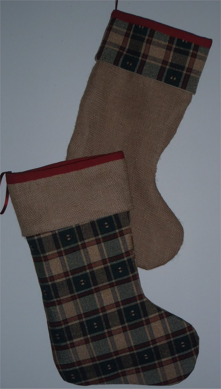 201653 - Christmas stocking -Printed hessian fabric. Stocking with plaid base is SOLD