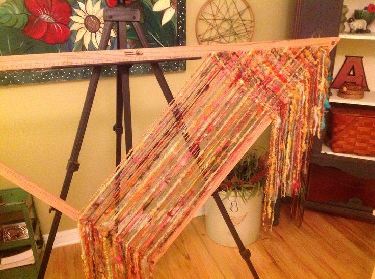 Tri loom weaving with hand spun. Cut strand method. | by Felting Sunshine