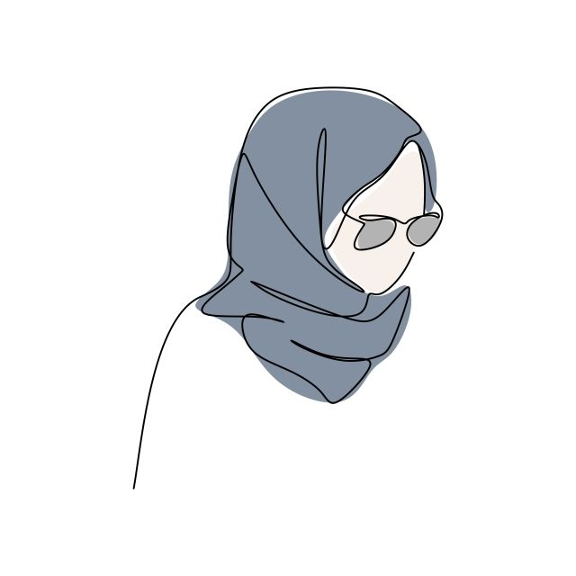 Modern Girl Wearing Hijab Fashion One Continuous Line Drawing