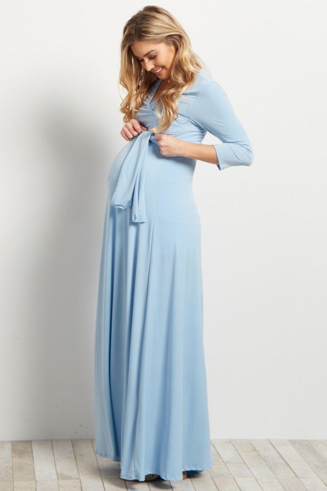 Light Blue Draped 3/4 Sleeve Maxi Dress
