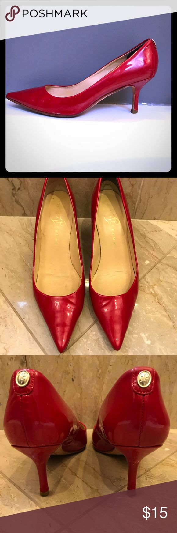 Red pumps!! These red patent leather pumps will add a pop of color to any outfit. 2.5 inch stiletto-style heel. Surprisingly comfortable and easy to walk in. Pre-loved condition, but still plenty of life. Ivanka Trump Shoes Heels