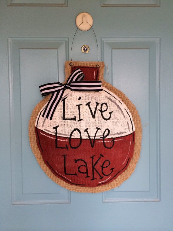 Burlap Door Hanger in the shape of an adorable fishing bobber. These are great for any house, especially for the Summer! This one was made for a