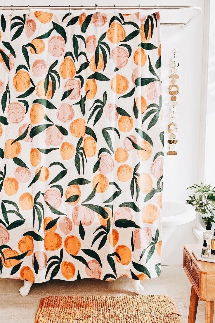 Allover Fruits Shower Curtain Home Decor Inspiration Orange
