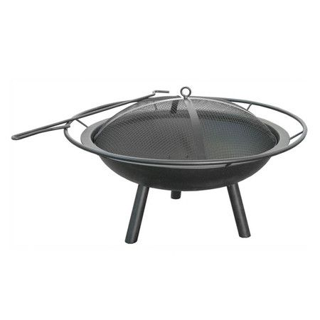 Anchor your patio or deck seating group with this classic firepit, showcasing a black finish and accompanying poker.  Product: F...