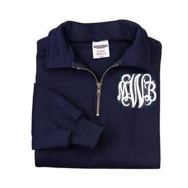 Monogrammed Quarter Zip Sweatshirt Cadet Collar ($38) ❤ liked on Polyvore featuring tops, hoodies, sweatshirts, jackets, sweatshirt, sweaters, pullovers, navy, women's clothing and navy blue sweatshirt
